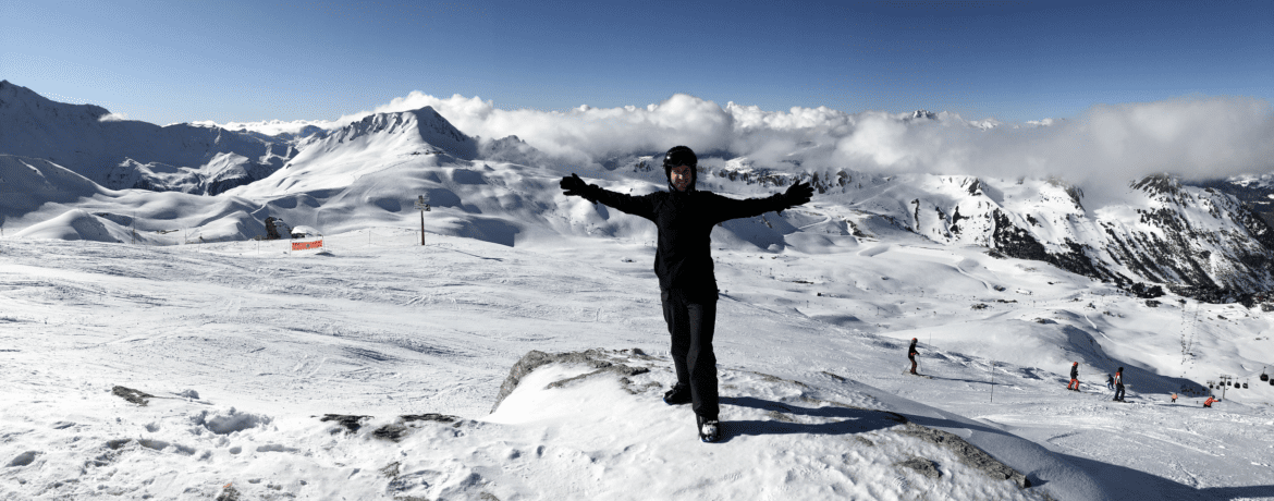 Snowboarding in Les Arcs (Bourg-Saint-Maurice, France)